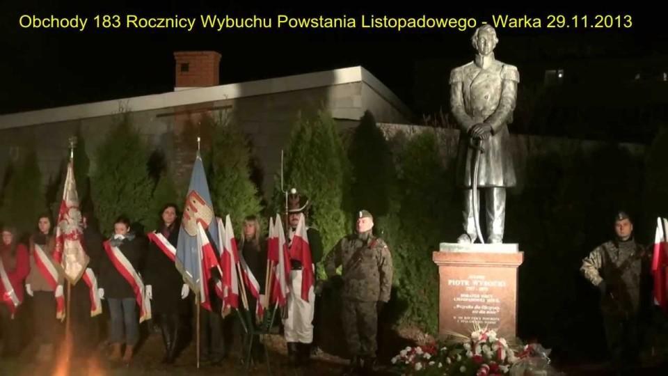 Obchody 183. rocznicy Powstania Listopadowego w Warce – 29 listopada 2013