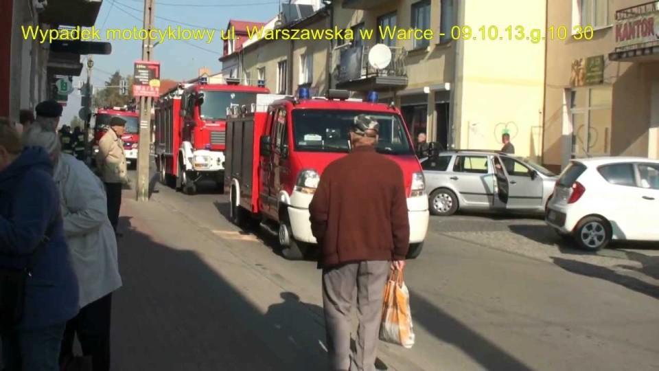 Wypadek motocyklowy na ul. Warszawskiej w Warce – 9 października 2013