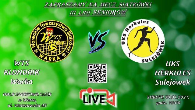 Mecz piłki siatowej WTS Klondaik Warka vs UKS Herkules Sulejówek 3:2 – 30 stycznia 2021